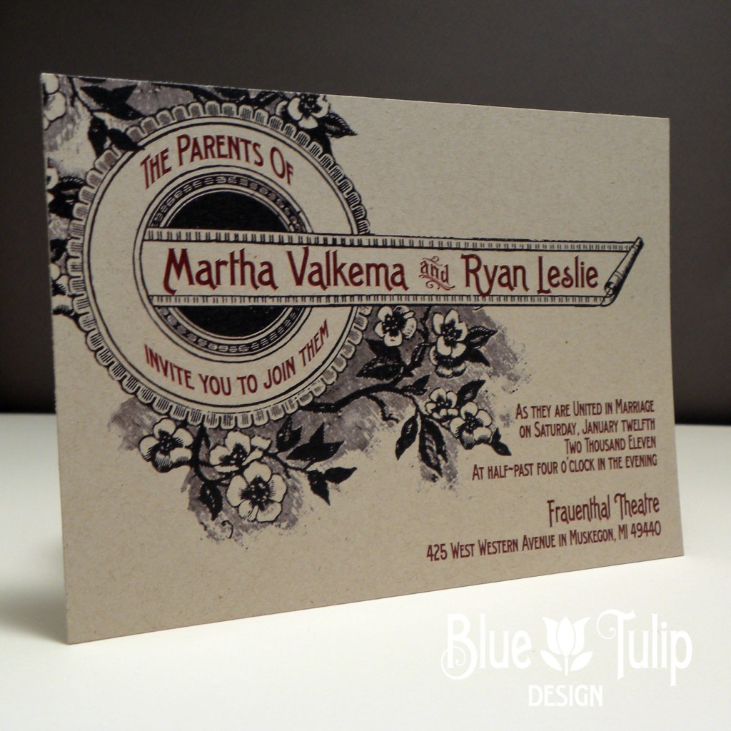 Vintage Floral Marquis Wedding Invitation | Real Wedding