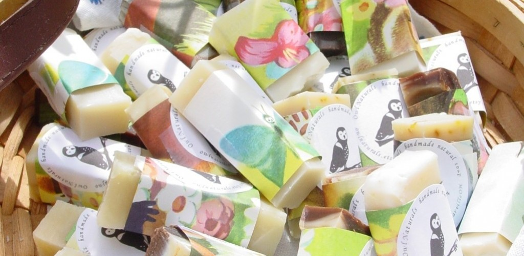 Handmade soap wedding favours wrapped in vintage childrens book pages