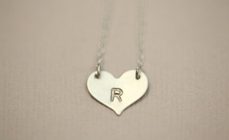 Hand stamped mini heart necklace by Mon Cadeau