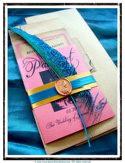 Peacock wedding invites by Peacock Invitations