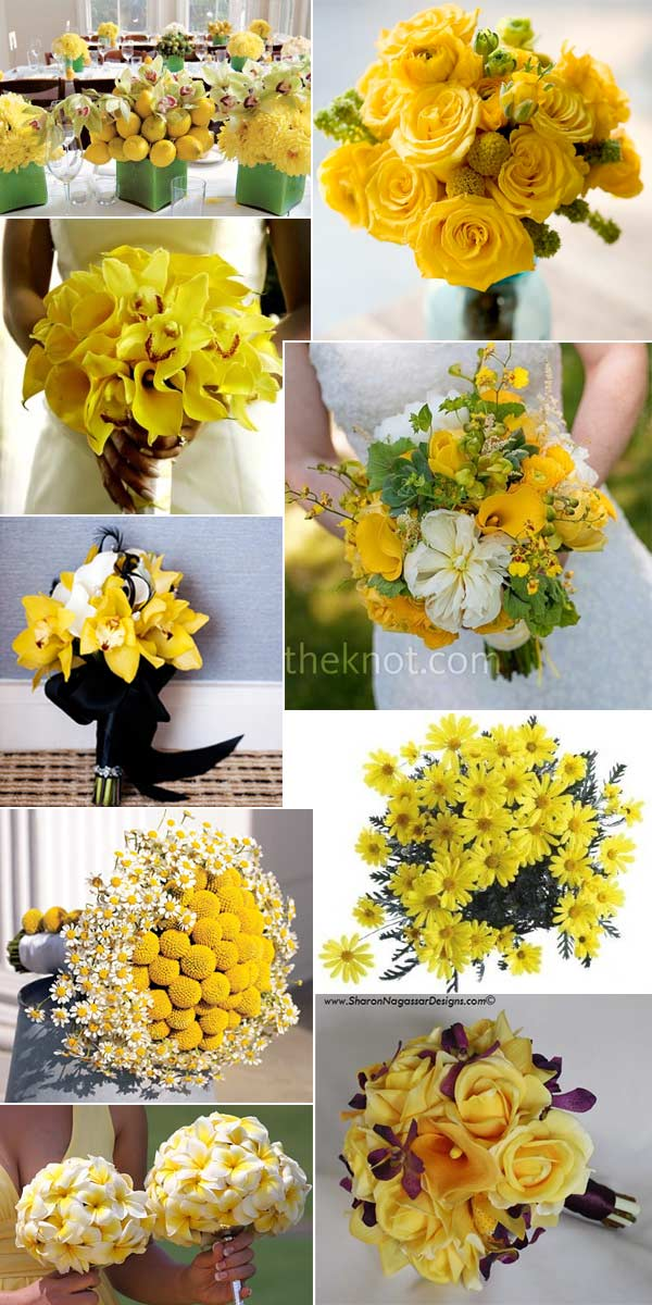 Yellow wedding flower bouquet inspiration real