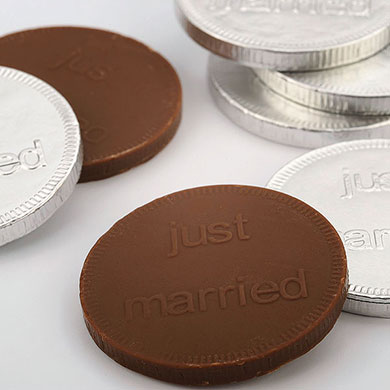 Chocolate just married coins wedding favours under £1 realwedding.co.uk