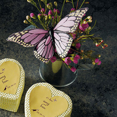 Hand painted butterflies wedding favours under £1 realwedding.co.uk