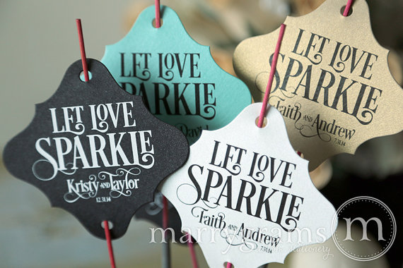 Sparkler Tags wedding favours under £1 realwedding.co.uk