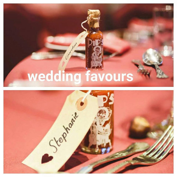 Hot Sauce Bottles wedding favours under £1 realwedding.co.uk