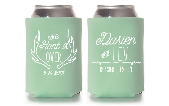Personalised can cooler wedding favour under £1 realwedding.co.uk