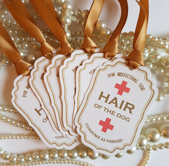 Gold Hair of the Dog Labels wedding favours | Cheap wedding favours under £1 | realwedding.co.uk