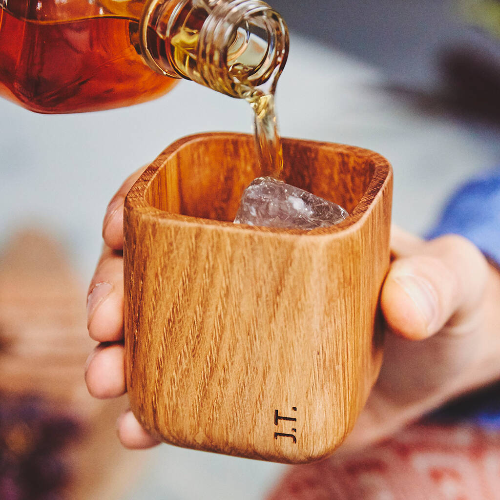 Whiskey Tumbler in Solid Oak l Unusual & Personalised Wedding Favour Ideas