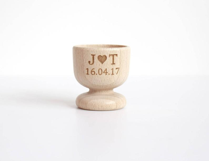 Unusual & Personalised Wedding Favour Ideas l Personalised Wood Egg Cups