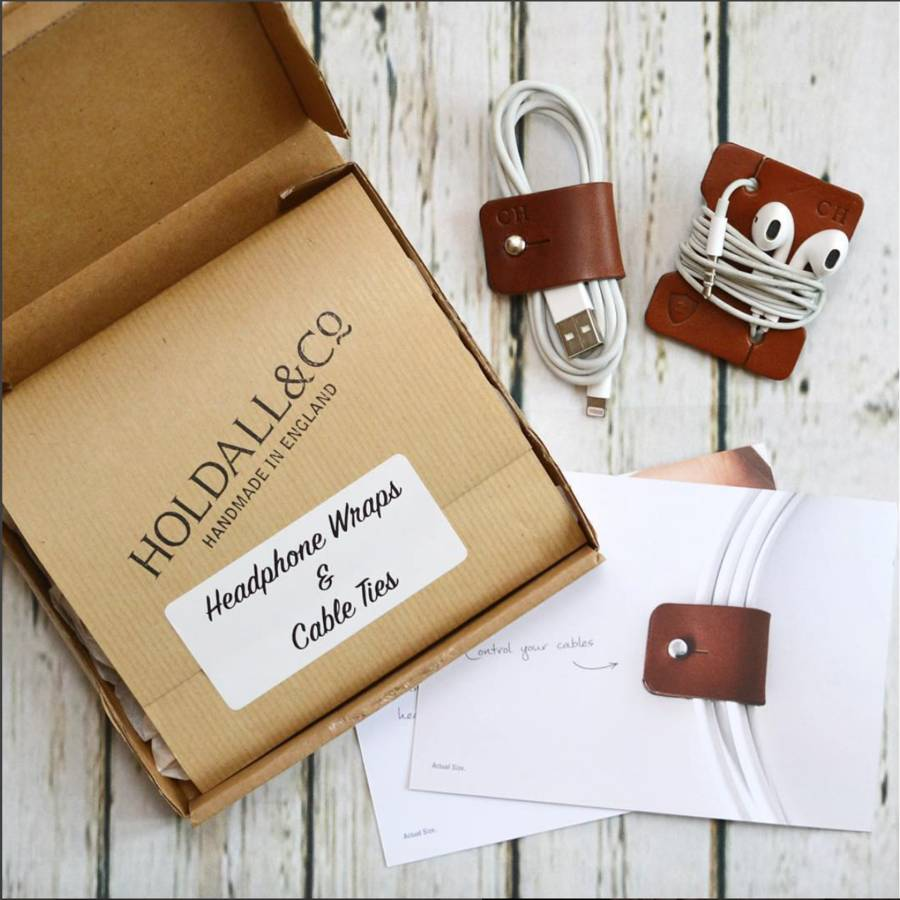 Unusual & Personalised Wedding Favour Ideas l Leather Cable And Headphone Organisers