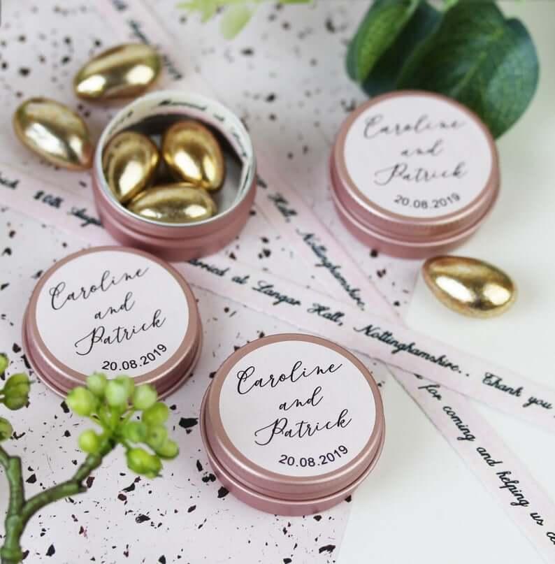 Unusual & Personalised Wedding Favour Ideas l Blush Pink Personalised Keepsake