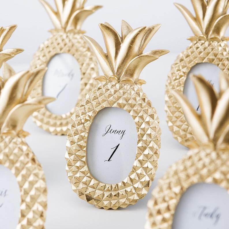 Unusual & Personalised Wedding Favour Ideas l Mini Metallic Gold Pineapple Photo Frame
