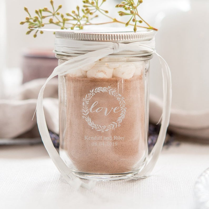 Unusual & Personalised Wedding Favour Ideas l Personalised Glass Mason Jars With Silver Lids