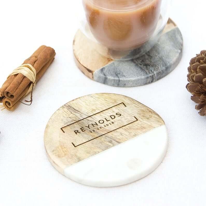 Unusual & Personalised Wedding Favour Ideas l Personalised Marble & Mango Wood Coaster