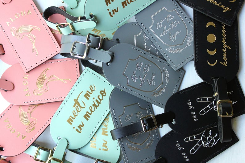 Unusual & Personalised Wedding Favour Ideas l Personalised Luggage Tags
