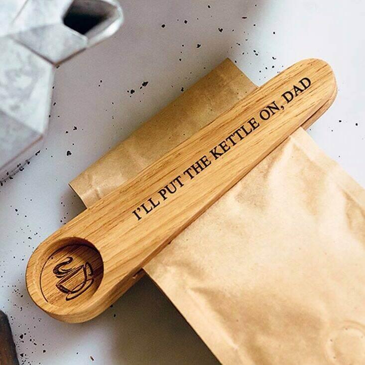 Unusual & Personalised Wedding Favour Ideas l Solid Oak Personalised Coffee Scoop