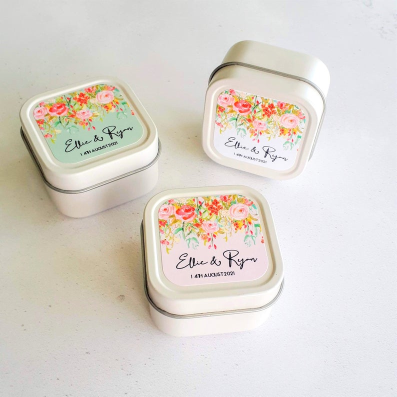Unusual & Personalised Wedding Favour Ideas l Floral Cascade Personalised Candle Favours
