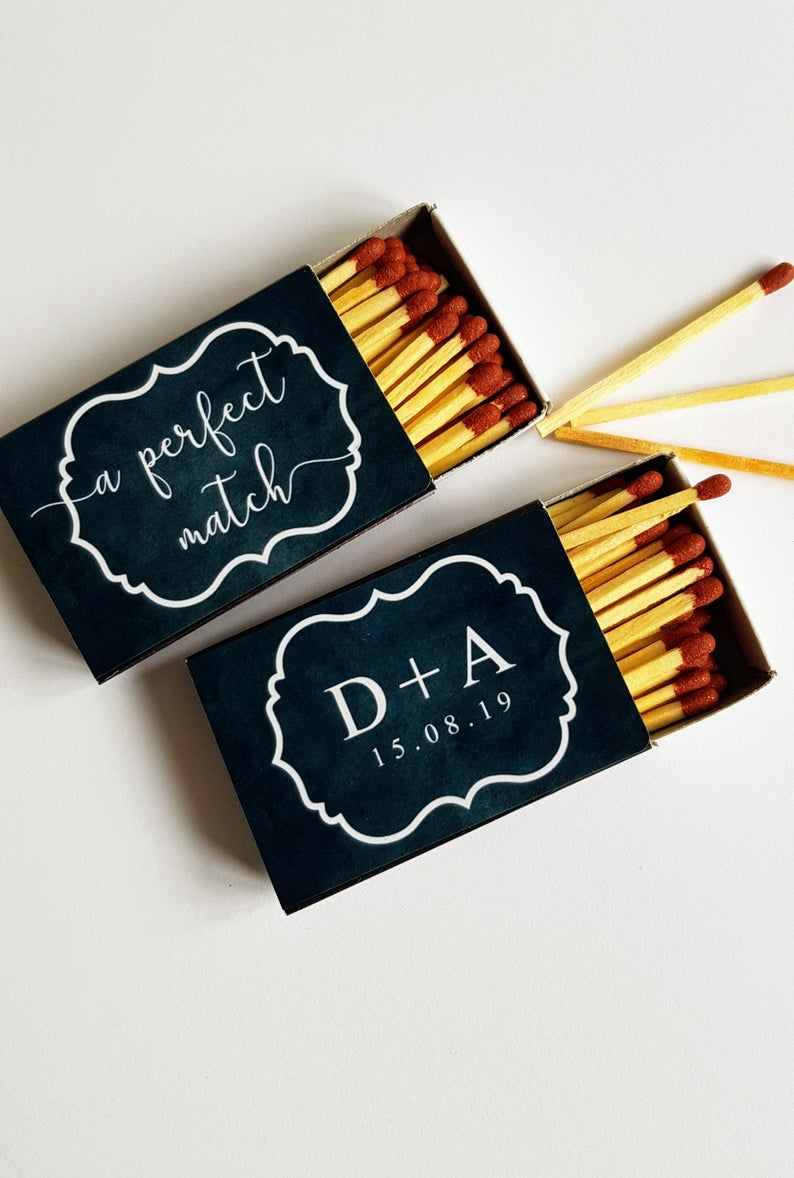 Unusual & Personalised Wedding Favour Ideas l A Perfect Match' Matchbox