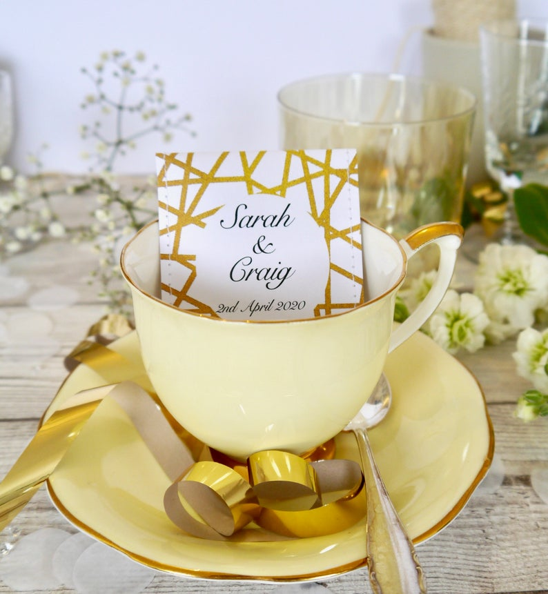 Unusual & Personalised Wedding Favour Ideas Bespoke Tea in Industrial-chic Design