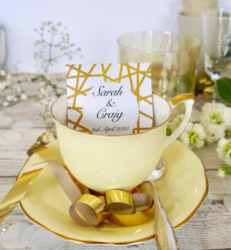 Unusual & Personalised Wedding Favour Ideas Bespoke Tea in Industrial-chic Design