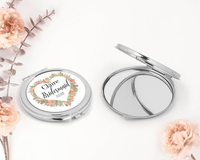 Unusual & Personalised Wedding Favour Ideas l Personalised Compact Mirror