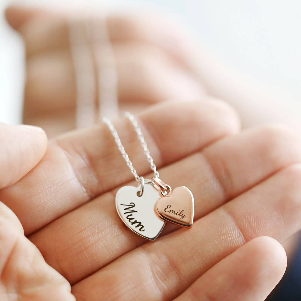 Unusual & Personalised Wedding Favour Ideas l Personalised Double Heart Charm Necklace