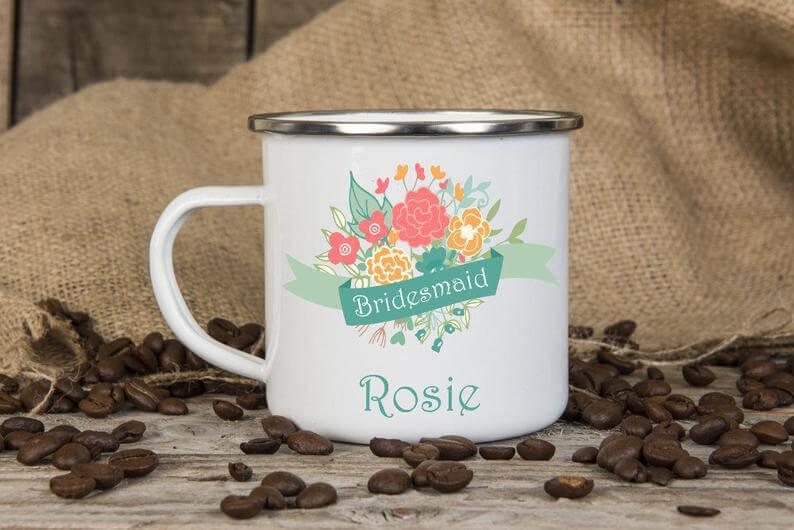 Unusual & Personalised Wedding Favour Ideas l Personalised Enamel Mug