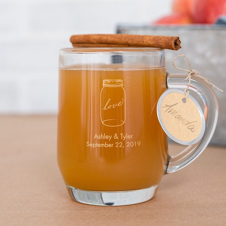 Unusual & Personalised Wedding Favour Ideas l Personalised Glass Coffee Mugs