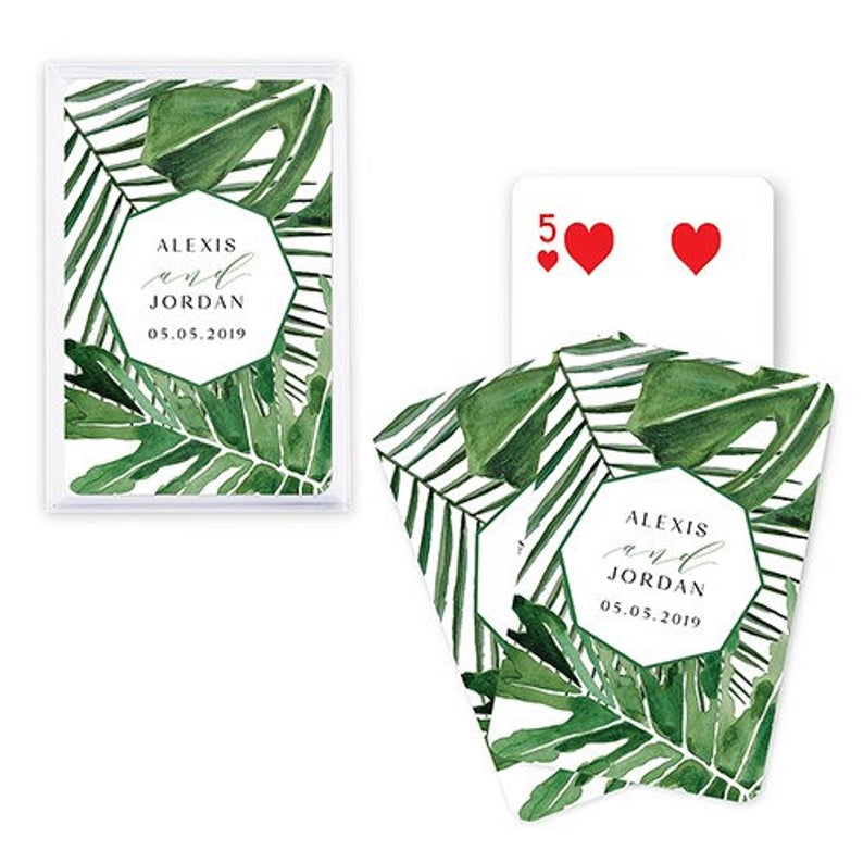 Unusual & Personalised Wedding Favour Ideas l Tropical Leaf Playing Cards