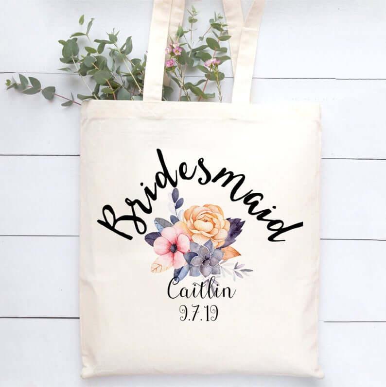 Unusual & Personalised Wedding Favour Ideas l Personalised Bridesmaid Tote Bag