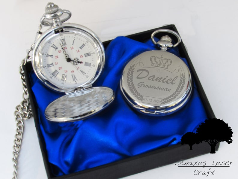 Unusual & Personalised Wedding Favour Ideas l Silver Pocket Watch Groom