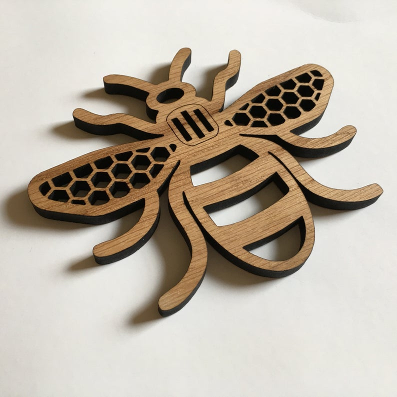 Unusual & Personalised Wedding Favour Ideas l Manchester Bee - Oak Wood Coaster