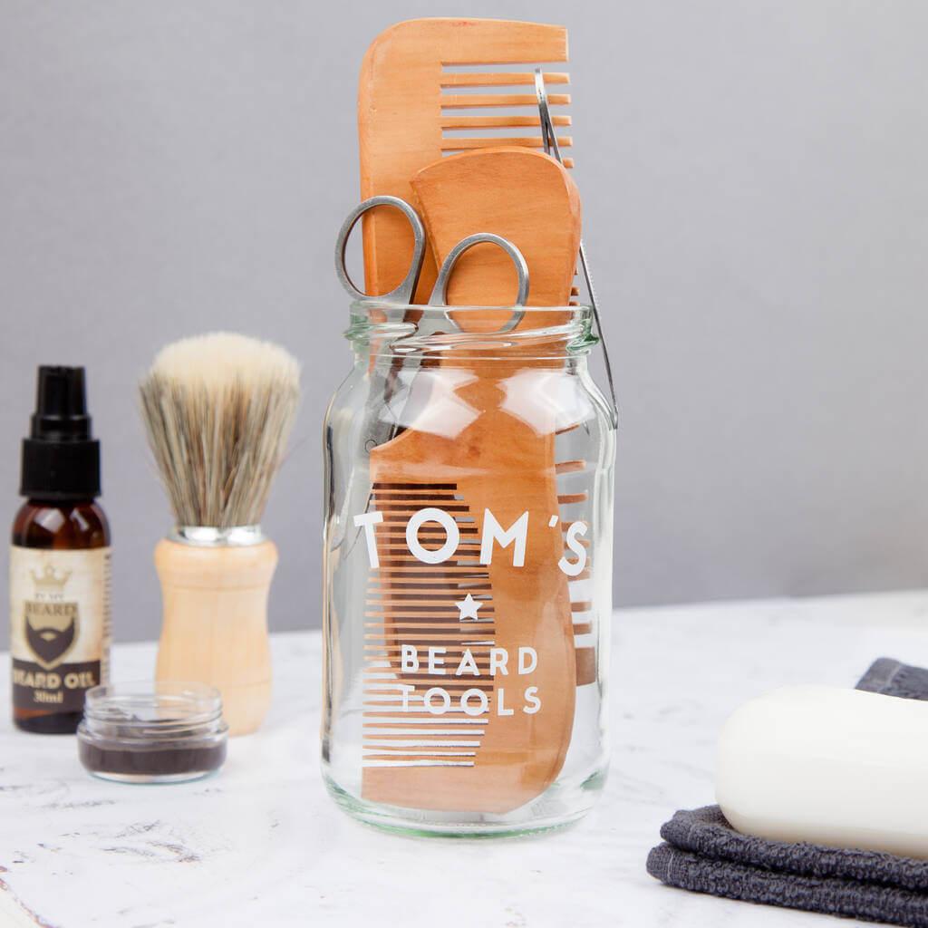 Men's Grooming Beard Tools Jar l Unusual & Personalised Wedding Favour Ideas