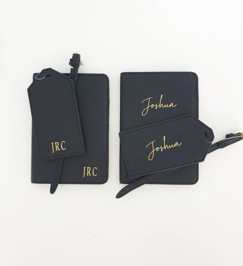 Unusual & Personalised Wedding Favour Ideas l Personalised Passport Holder and Luggage Tag Gift Set