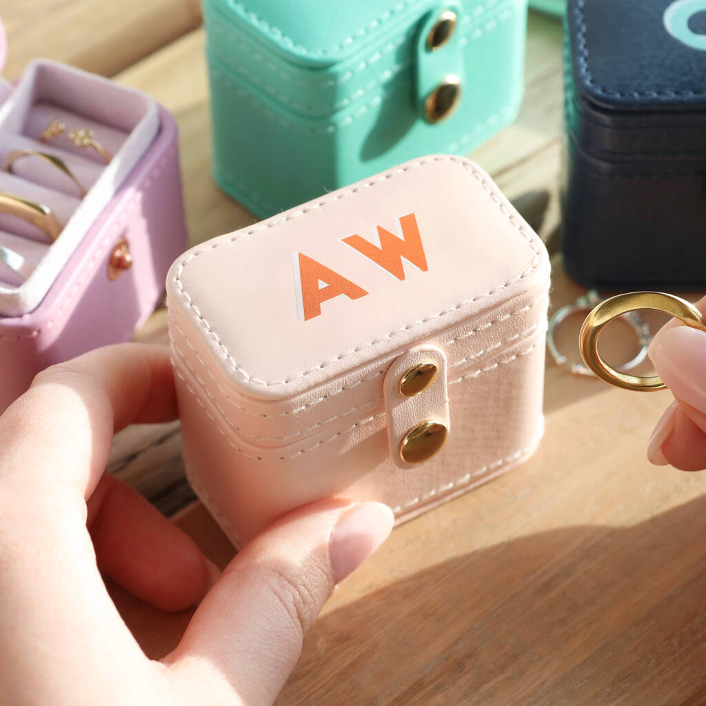 Unusual & Personalised Wedding Favour Ideas l Personalised Block Initials Petite Travel Ring Box