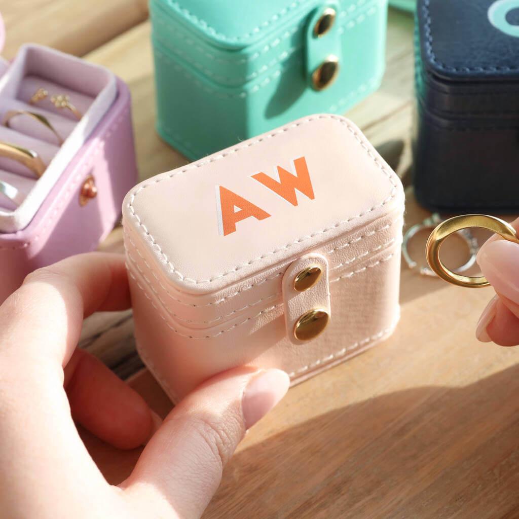 Unusual & Personalised Wedding Favour Ideas l Personalised Block Initials Petite Travel Ring Box