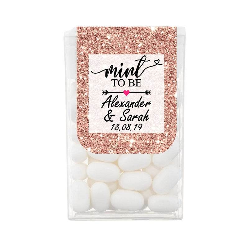 Unusual & Personalised Wedding Favour Ideas l Rose Gold Glitter & Sparkle Mint to Be Personalised Tic Tac