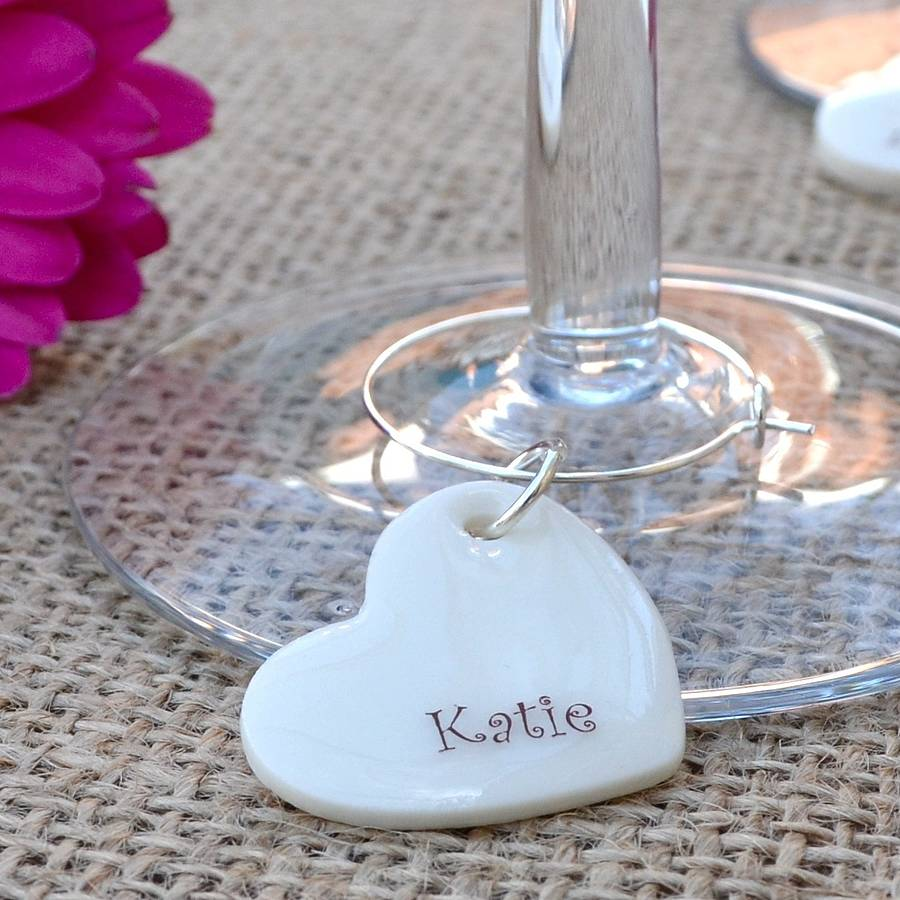 Place cards for table setting C Personalised Wine Glass Charm with Any name