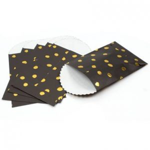 Black and Gold Polka Dot Paper Bags 6 Pack