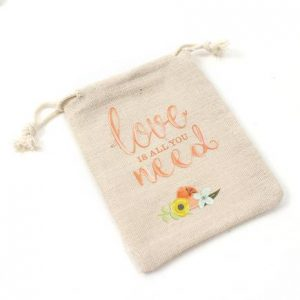 All You Need is Love Printed Linen Favour Bags 20 Pack