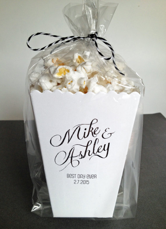 100 cheap wedding favour ideas for under 1 each real wedding personalised popcorn box junglespirit Gallery