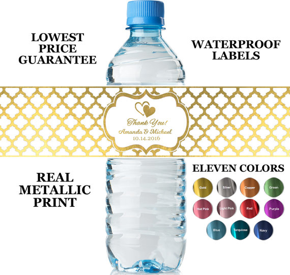 Water bottle labels wedding favours | Cheap wedding favours under £1 | realwedding.co.uk