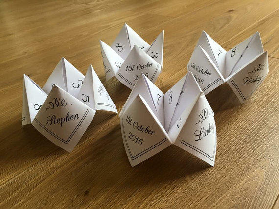 Paper fortune tellers, Wedding table games