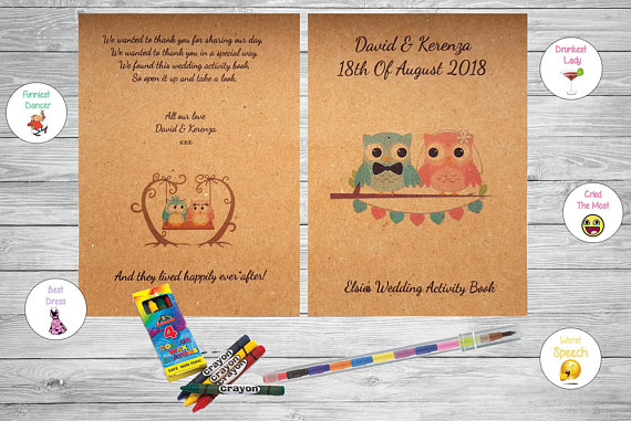 Personalised Childrens Kids Wedding Activity Pack Book Booklet Favour Owls