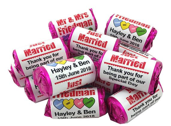 Personalised Wedding Mini Love Heart Sweet Wedding Favours