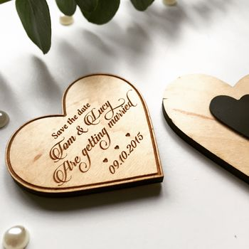 Calligraphy Wooden Magnet Save The Date