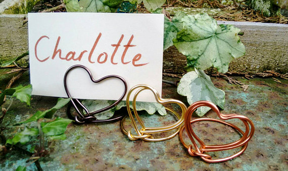 Mini heart place name card/photo holders