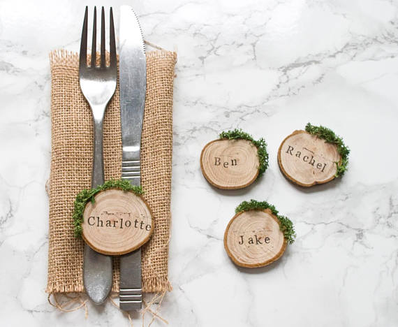 Wooden Wedding Pace Name and Favour
