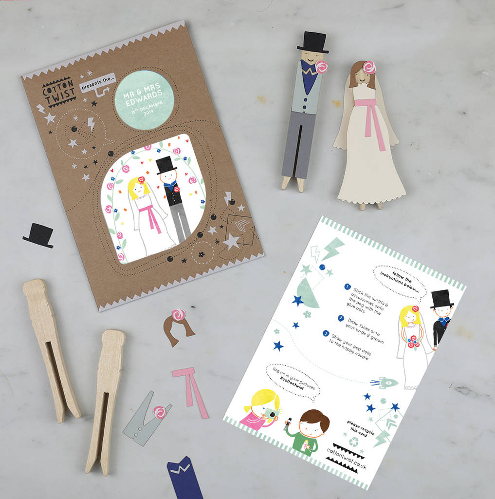 DIY  & Handmade Wedding Favour Ideas l Custom Make Your Own Bride And Groom Peg Doll Kit