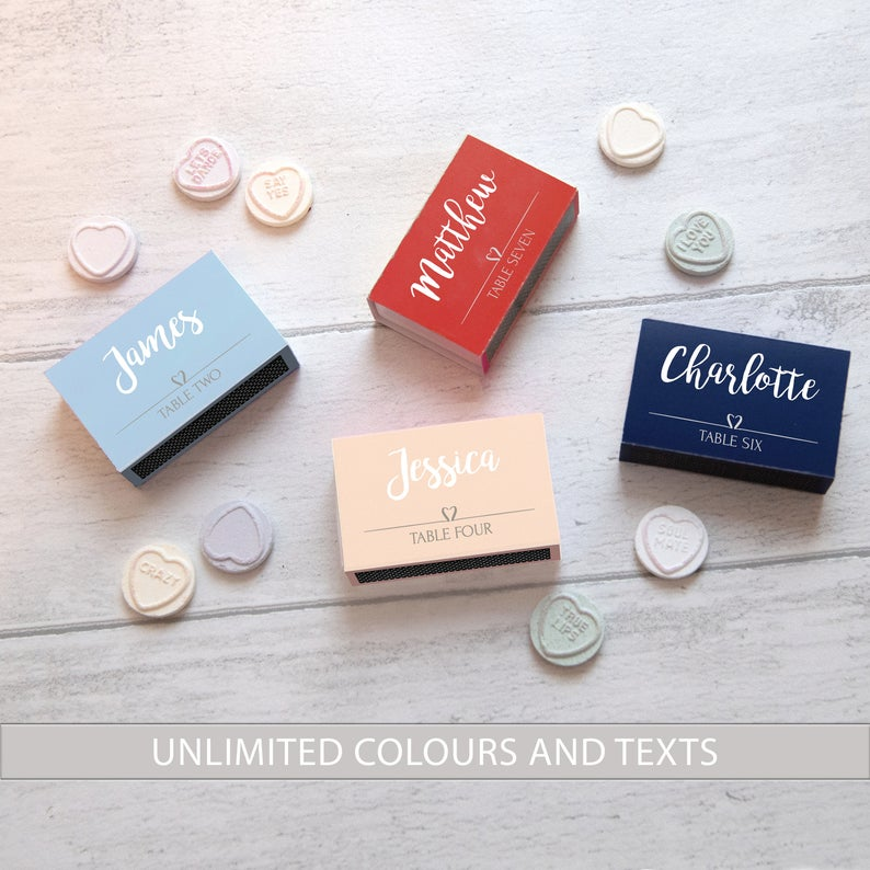 DIY  & Handmade Wedding Favour Ideas l Printable Personalised Modern Matchbox Style Wedding Favours